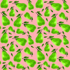 green pears on a pink background