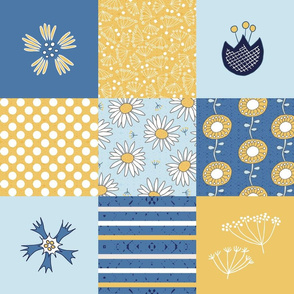 blue and yellow flowers cheater quilt