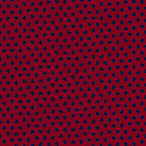 navy on burgundy tiny scattered hearts