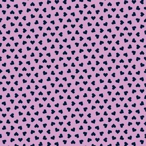 navy on orchid tiny scattered hearts