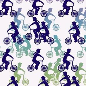 Cycle girls - navy rainbow