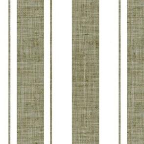 Linen Hessian Effect Rustic Stripes Olive Green