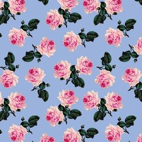Scattered vintage roses blue (small)
