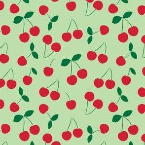 Cherries - color on light green