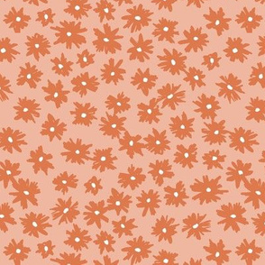 Raw ink boho daisies sweet blossom flowers daisy garden orange peach coral pink