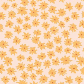 Raw ink boho daisies sweet blossom flowers daisy garden yellow peach pale pink