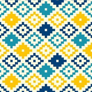 Aztec diamonds simple kilim yellow, blue summer Wallpaper Fabric