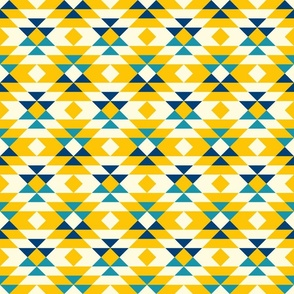Yellow Aztec diamonds large boho Wallpaper Fabric