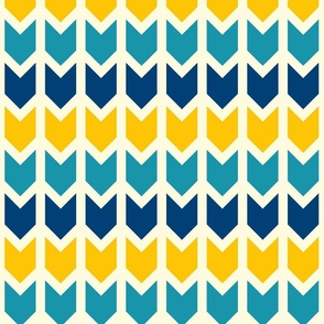 Arrows colorful geometrics blue yellow Wallpaper Fabric