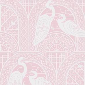 Egrets On The Bridge L Pink