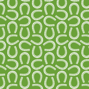 Classic Antique Horseshoes Horse Shoe Design in White with Apple Green Background