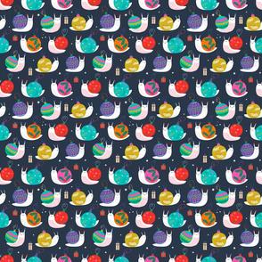 "Tiny 6"" - Christmas Bauble Snails Navy"