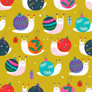 """Large 18"""" - Christmas Bauble Snails Mustard"""