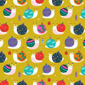 """Medium 12"""" - Christmas Bauble Snails Mustard"""