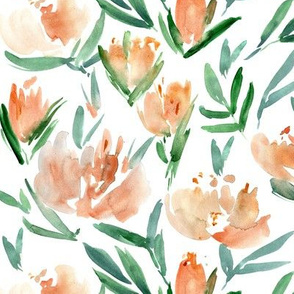 Apricot peonies - watercolor peony floral spring pattern