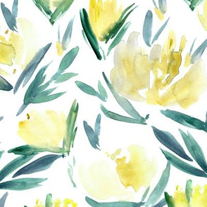 Yellow peonies - watercolor peony floral spring pattern