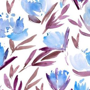 Blue peonies - watercolor peony floral spring pattern