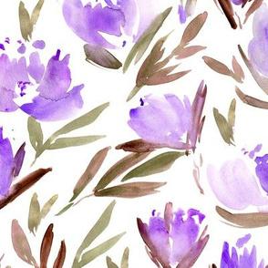 Amethyst peonies - watercolor peony floral spring pattern