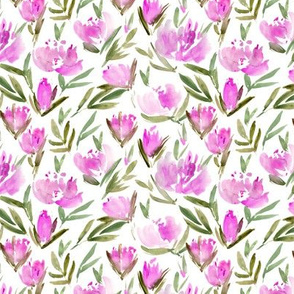 Small scale magenta peonies - watercolor peony floral spring pattern