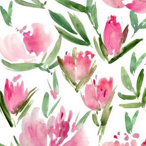 Raspberry peonies - watercolor peony floral spring pattern