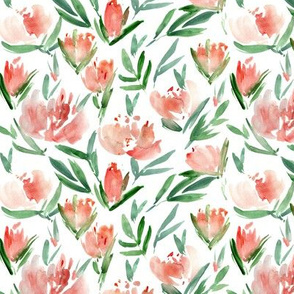 Small scale peonies - watercolor peony floral spring pattern