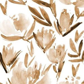 Earthy boho peonies - watercolor peony floral spring pattern