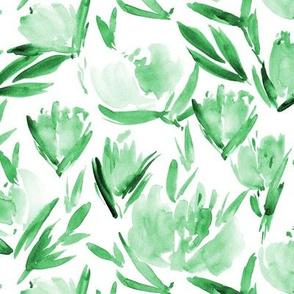Jade green tonal peonies - watercolor peony floral spring pattern 314