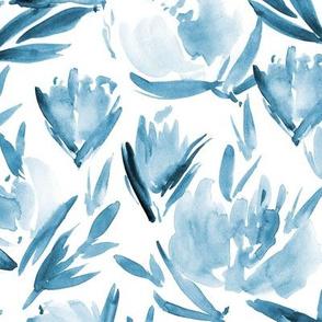 Cerulean peonies - watercolor peony floral spring pattern p314