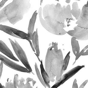 Noir peonies - large scale - watercolor peony floral spring pattern p314