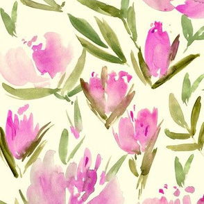 Peonies on cream - watercolor peony floral spring pattern