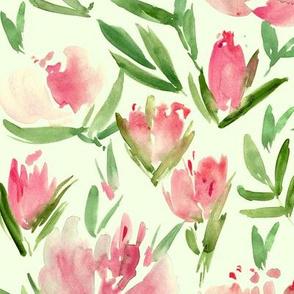 Blush pink peonies - watercolor peony floral spring pattern