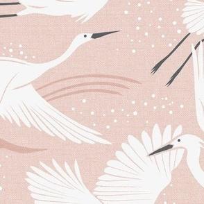 Soaring Wings - Blush  Pink Crane Large Scale