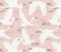 Soaring Wings - Blush  Pink Crane Large Scale