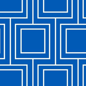 Marine Blue Geometric Squares White
