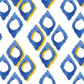 20-7a Royal Blue Yellow Watercolor Diamond Geometric