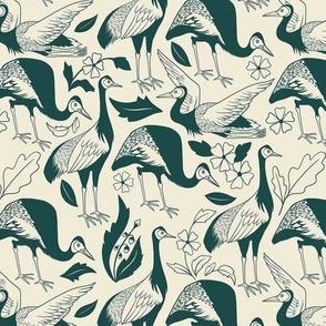 Woodcut Cranes