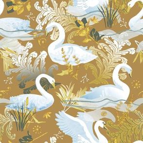 White swans | golden mustard