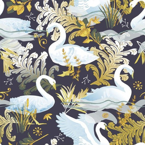 White swans | charcoal purple