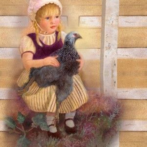 Oil Painting of Brahma Chicken and Farm Girl