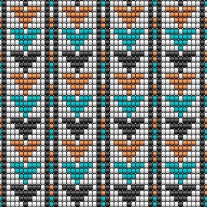 Aztec textured beads arrows rows teal, orange Wallpaper Fabric