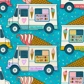 ice cream trucks - teal