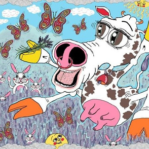 happy cow in a field of lavender with bunny rabbits and butterflies, large scale, pink orange green blue white brown yellow red rainbow colors