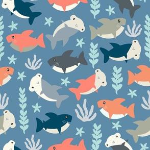 Cute shark pattern Blue & Orange