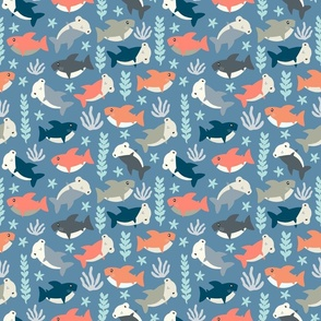 Cute shark pattern Blue & Coral