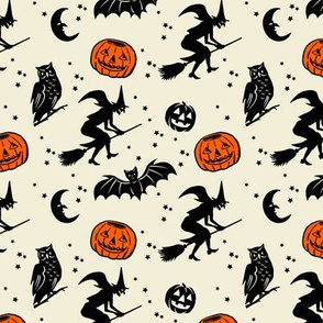 Smaller scale ~ Bats and Jacks ~ Black on Cream with Orange