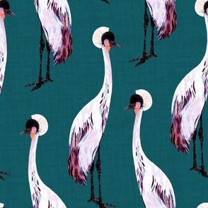 Cranes on green