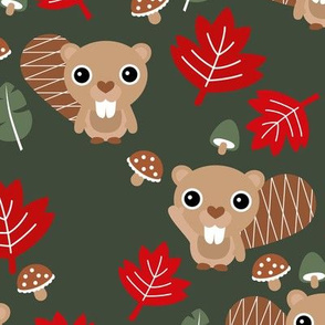 Little adorable baby beaver and maple leaves canada woodland theme winter green red