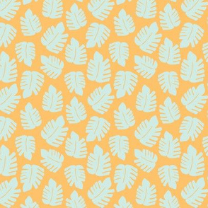 Orange monstera pattern