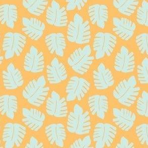 Orange Monstera pattern