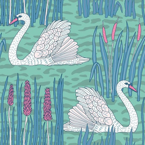 "Swans (12"") - green-blue"